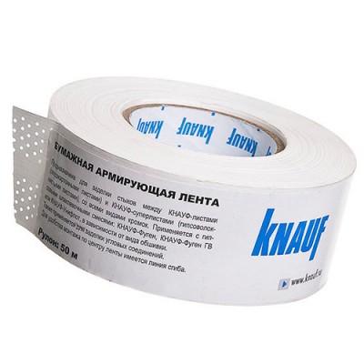 Лента армирующая бумажная для стыков гипсокартона Кнауф 52 мм, рулон 150 м
