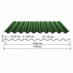 Профнастил зеленый оцинкованный RAL 6005 С-21