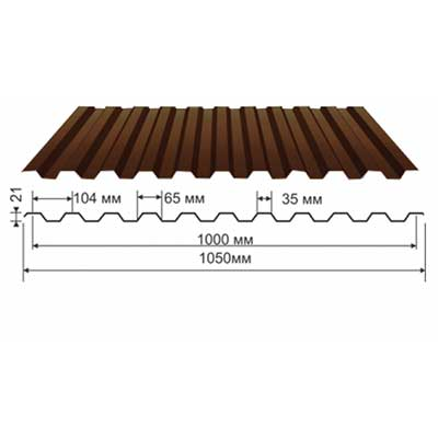 Профнастил коричневый оцинкованный RAL 8017 С-21