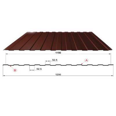 Профнастил коричневый оцинкованный RAL 8017 С-8